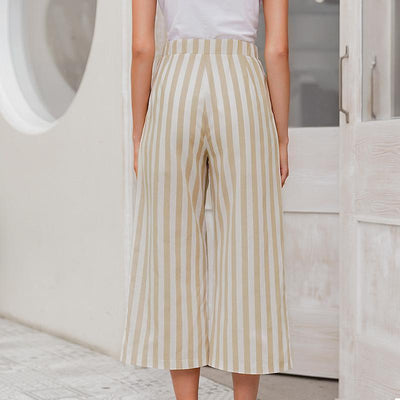 Simplee Casual Striped Wide Leg Pants Women Spring Summer High Waist Trousers Chic Streetwear Buttons Holiday Office Female Pant star
