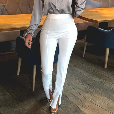 Glamaker High Waist Solid Casual Trousers Women Bodycon Split Pants Female Office Lady Fashion Pants Elegant Patalon Bottoms petit prix