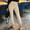 Glamaker High Waist Solid Casual Trousers Women Bodycon Split Pants Female Office Lady Fashion Pants Elegant Patalon Bottoms luxe