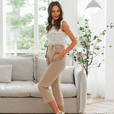 Simplee Pleated Polyester Office Lady Pants Mid Waist Casual Cropped  Trousers Women Decorative Belt Female Pencil Pants hippie