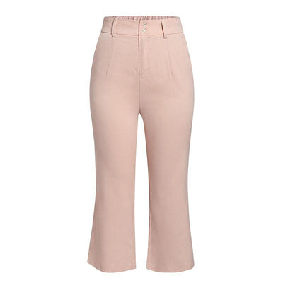 Simplee High Waist Casual Women Pants Summer Spring Solid Pink Trousers Wide Leg Work Wear Office Lady Ruffles Vintage Pants hippie