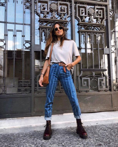 Simplee Sexy Stripe Blue Jeans Women Pants Zipper Pocket Denim Pants Casual Streetwaer Autumn Trousers 2018 High Waist Pants tendance