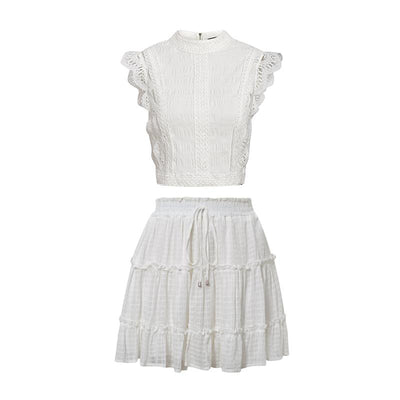 Simplee Two-Piece White Holiday Dress Women Sleeveless Hollow Out Ruffle Lace Up Mini Dresses Summer Short Top Skirt Lady Dress Charmante