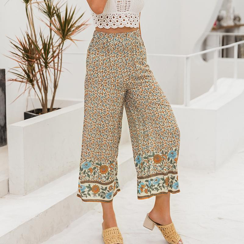 Simplee Boho Vintage Print Long Women Summer Pants Bohemian Wide Leg Loose Pants Trousers Floral Holiday Beach Female Pants pas cher