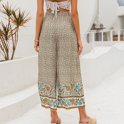 Simplee Boho Vintage Print Long Women Summer Pants Bohemian Wide Leg Loose Pants Trousers Floral Holiday Beach Female Pants pour une vie boho