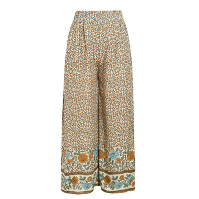Simplee Boho Vintage Print Long Women Summer Pants Bohemian Wide Leg Loose Pants Trousers Floral Holiday Beach Female Pants luxe