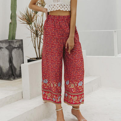 Simplee Boho Vintage Print Long Women Summer Pants Bohemian Wide Leg Loose Pants Trousers Floral Holiday Beach Female Pants Charmante