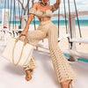 High Waist Beach Pants 2020 Fashion Crochet Fishnet Summer Beach Wear Women Hollow Out Swimsuit Cover-Ups Female Pants Kimono boho