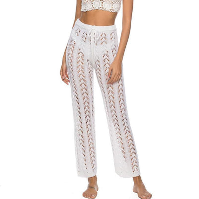 High Waist Beach Pants 2020 Fashion Crochet Fishnet Summer Beach Wear Women Hollow Out Swimsuit Cover-Ups Female Pants Kimono 2020