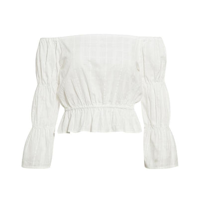 Haut Blanc Off Shoulder Hippie de qualite