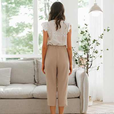 Simplee Pleated Polyester Office Lady Pants Mid Waist Casual Cropped  Trousers Women Decorative Belt Female Pencil Pants meilleur