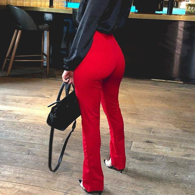 Glamaker High Waist Solid Casual Trousers Women Bodycon Split Pants Female Office Lady Fashion Pants Elegant Patalon Bottoms pour une vie boho