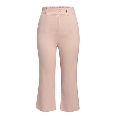 Simplee High Waist Casual Women Pants Summer Spring Solid Pink Trousers Wide Leg Work Wear Office Lady Ruffles Vintage Pants Charmante