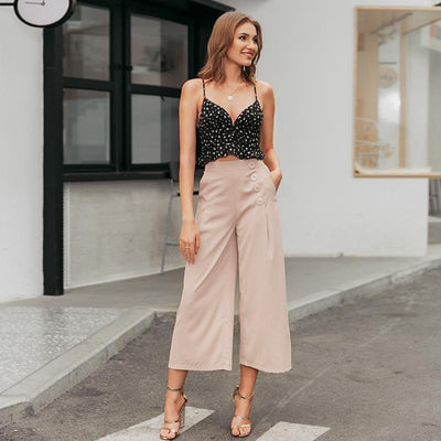 Vintage High Waist Casual Women Pants Summer Spring Solid Buttons Trousers Wide Leg Work Wear Office Lady Female Pants hippie