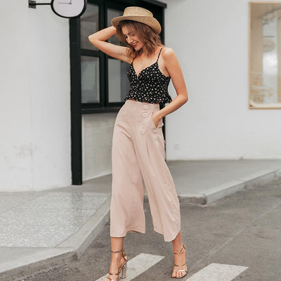 Vintage High Waist Casual Women Pants Summer Spring Solid Buttons Trousers Wide Leg Work Wear Office Lady Female Pants boho chic
