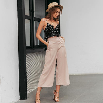 Vintage High Waist Casual Women Pants Summer Spring Solid Buttons Trousers Wide Leg Work Wear Office Lady Female Pants star