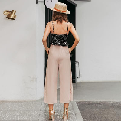 Vintage High Waist Casual Women Pants Summer Spring Solid Buttons Trousers Wide Leg Work Wear Office Lady Female Pants tendance