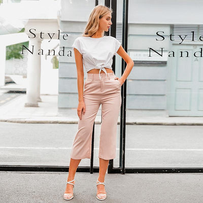 Simplee High Waist Casual Women Pants Summer Spring Solid Pink Trousers Wide Leg Work Wear Office Lady Ruffles Vintage Pants star