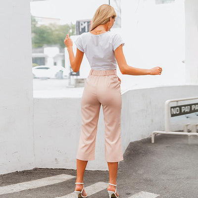 Simplee High Waist Casual Women Pants Summer Spring Solid Pink Trousers Wide Leg Work Wear Office Lady Ruffles Vintage Pants pas cher