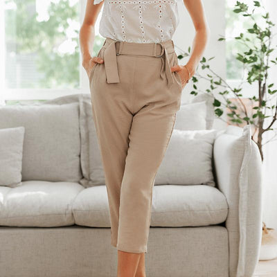 Simplee Pleated Polyester Office Lady Pants Mid Waist Casual Cropped  Trousers Women Decorative Belt Female Pencil Pants Élégante