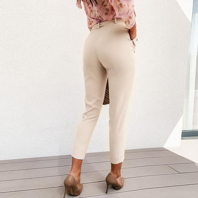 Simplee Solid Casual Harem Pants Female Trousers High Waist Office Ladies Adjustable Waist Belt Pants Loose Cropped Women Pants femme