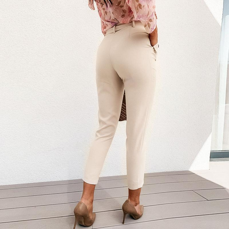 Simplee Solid Casual Harem Pants Female Trousers High Waist Office Ladies Adjustable Waist Belt Pants Loose Cropped Women Pants pour une vie boho