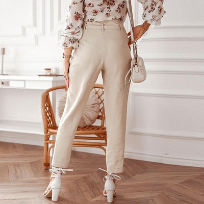 Simplee Solid Casual Harem Pants Female Trousers High Waist Office Ladies Adjustable Waist Belt Pants Loose Cropped Women Pants tendance
