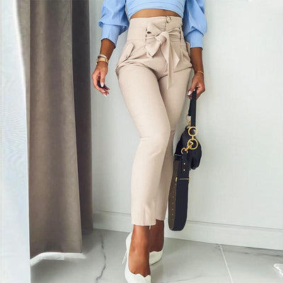 Simplee Solid Casual Harem Pants Female Trousers High Waist Office Ladies Adjustable Waist Belt Pants Loose Cropped Women Pants boho
