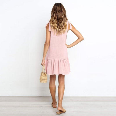 Robe bohème chic rose de qualite
