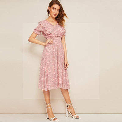 Robe boheme rose pale luxe