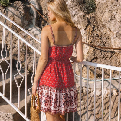 Robe hippie rouge boho