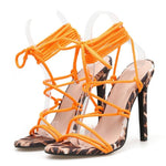 Load image into Gallery viewer, Strappy Orange Leopard Heels