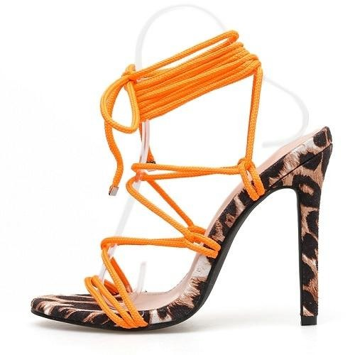 Strappy Orange Leopard Heels