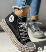 Load image into Gallery viewer, Leopard Rhinestone High-Top Sneakers