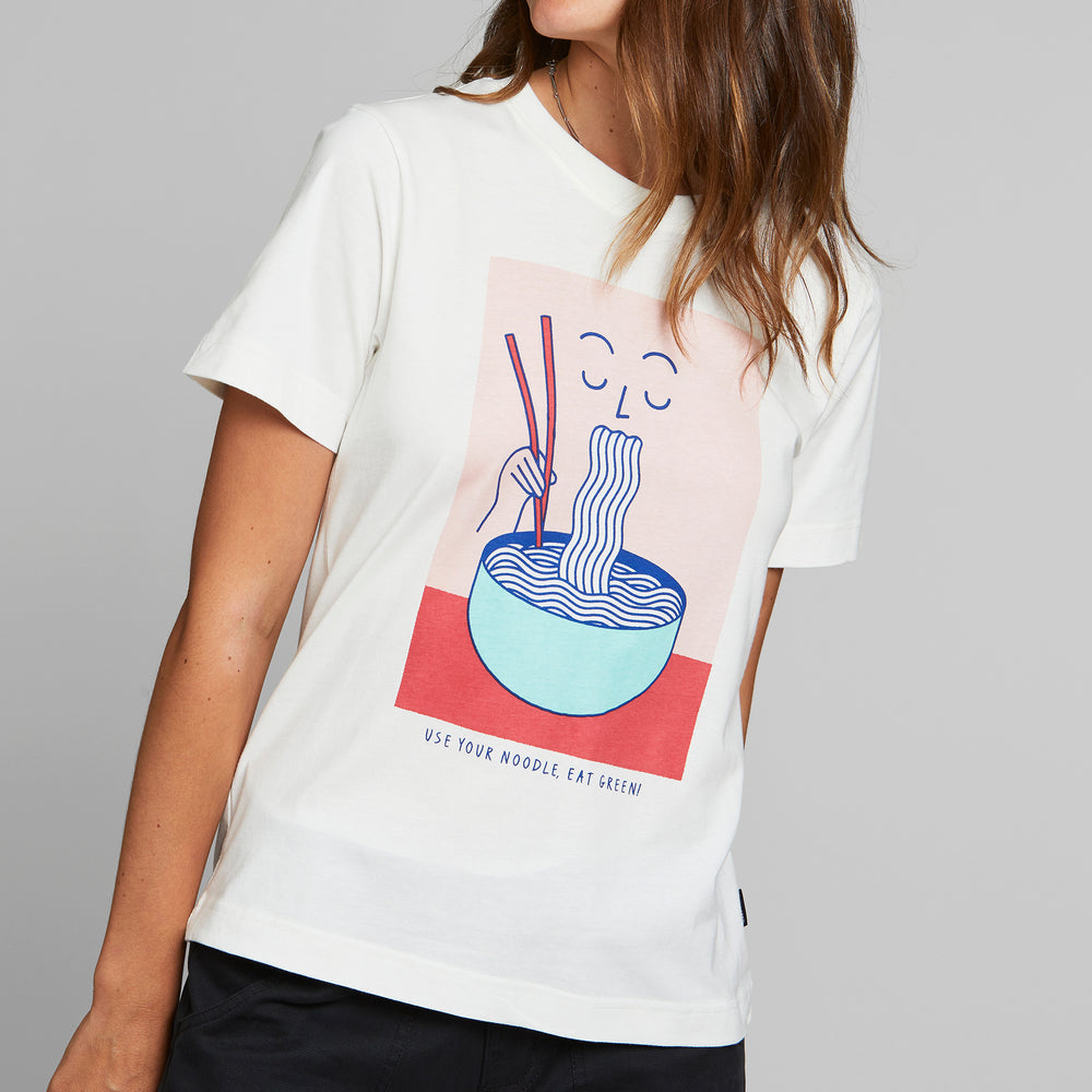 Product Photo of a girl wearing the Mysen Noodle T-Shirt by Dedicated.
