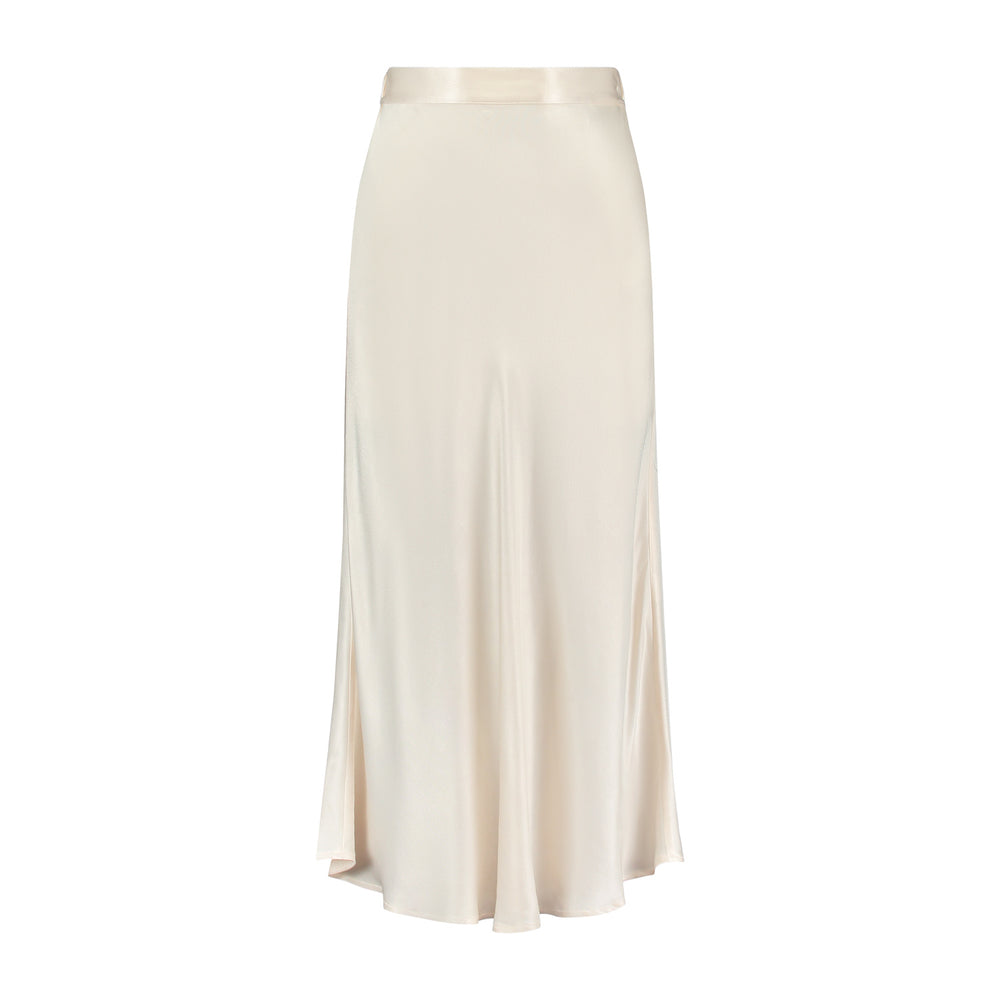 Product photo of the Lana Long Skirt in Off-White.