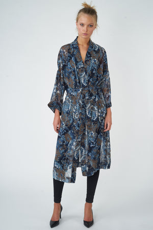 Load image into Gallery viewer, Printed Chiffron Nocturnal Kimono