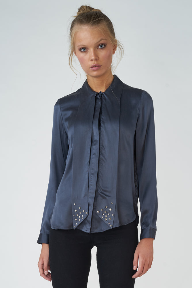 Sand-washed Silk Ascot Blouse