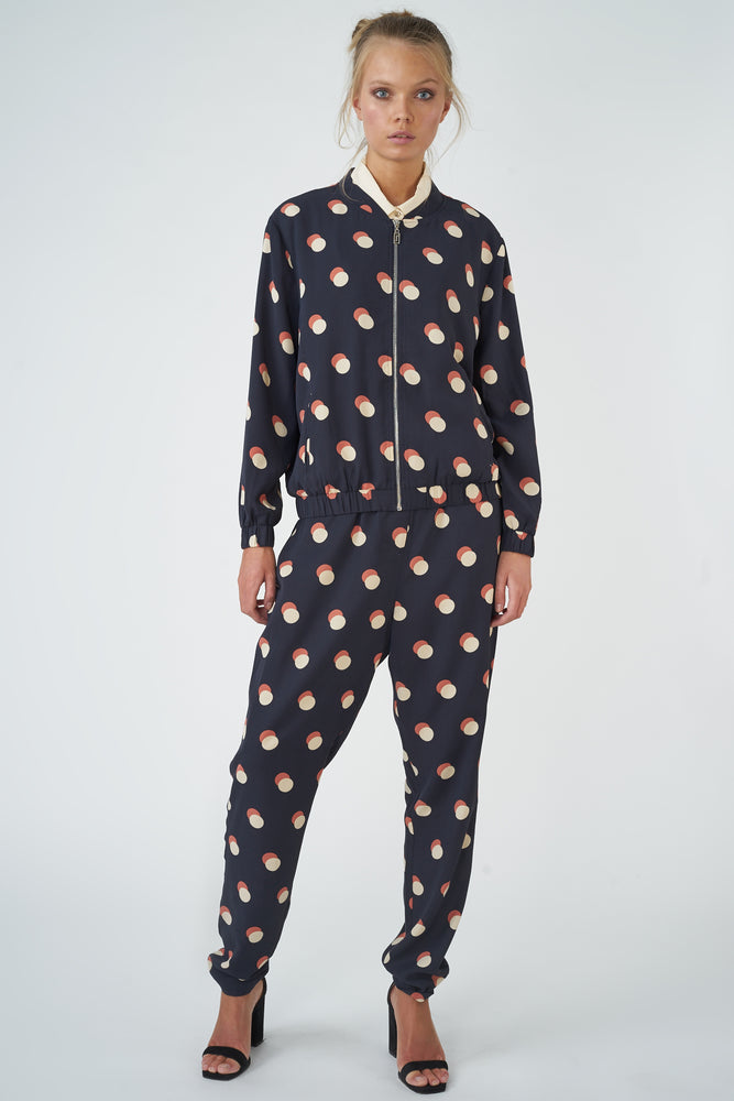 Printed Dot-on-Dot Blouson