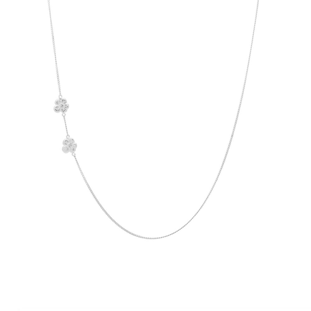 Product Photo of a silver necklace with 2 flowers on one side.