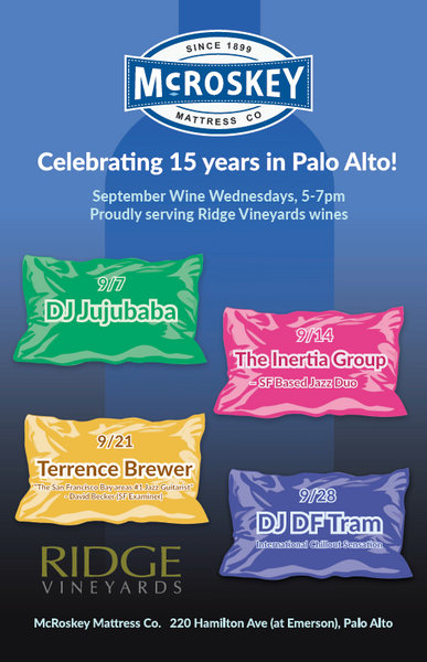 EVENT: Celebrating 15 Years in Palo Alto with Wine Wednesdays