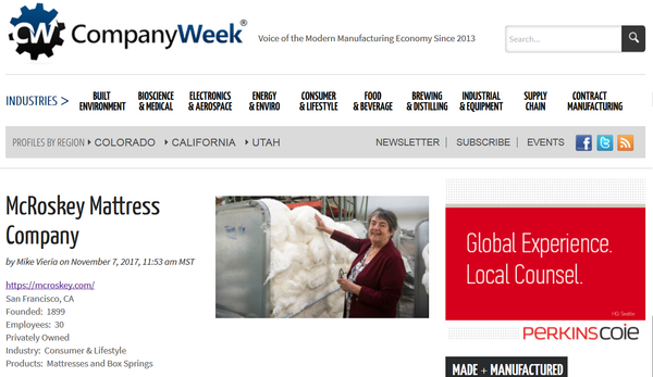 Company Week: McRoskey Mattress Company Profile