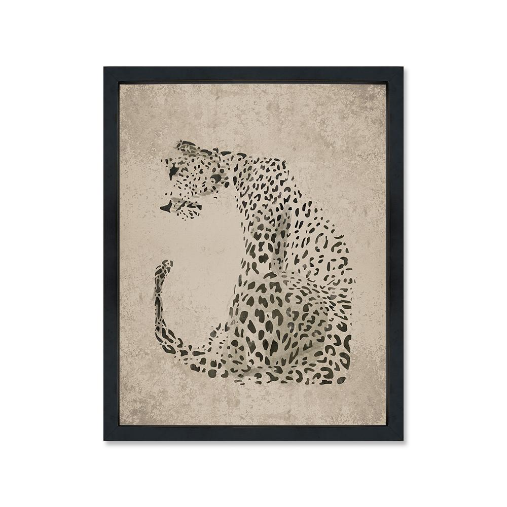 Leopardo gris canvas con marco