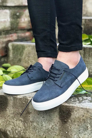 Image of Men's Lace-up Navy Blue Shoes