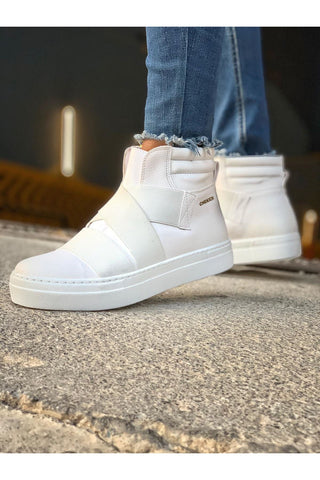Image of Men's Cross Strap White Boots