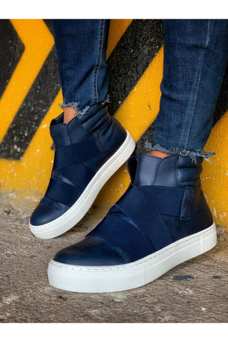 Image of Men's Cross Strap Navy Blue Boots
