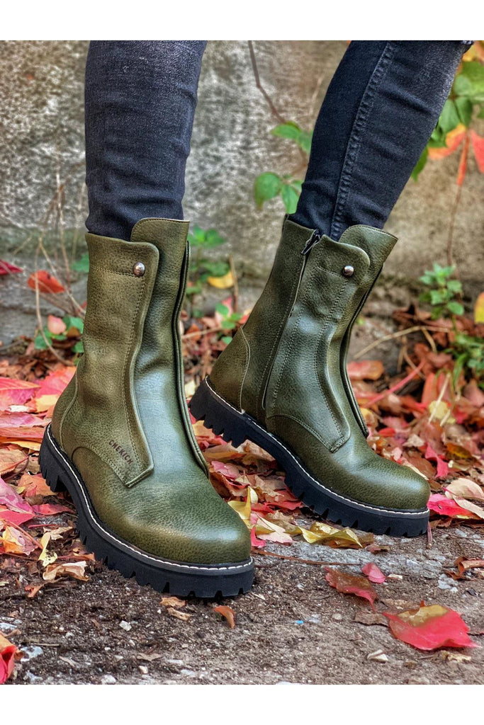 Men's Khaki Leather Boots