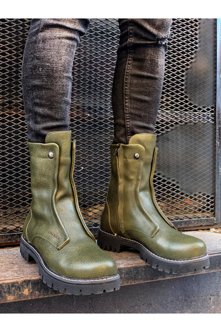Image of Men's Khaki Leather Boots