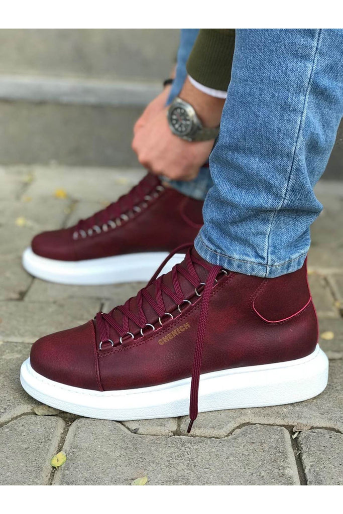 Men's Lace-up Claret Red Boots
