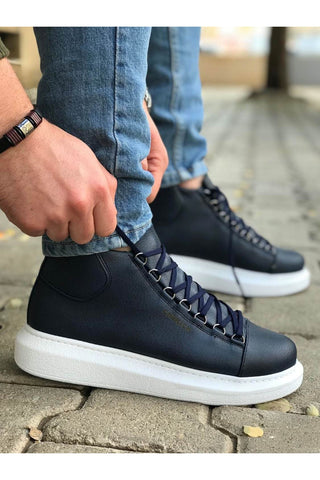 Image of Men's Lace-up Navy Blue Boots